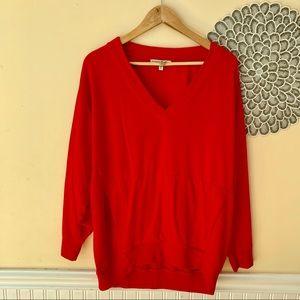 Express One Eleven Red Oversized V Neck Sweatshirt